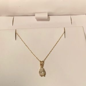 Jewelry - Diamond pear solitaire necklace in 14k gold.